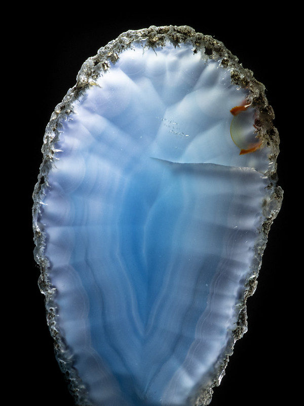 Blue Striped Agate Slice with Fracture