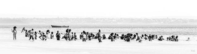Happy people on Ramena beach in Madagascar