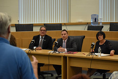 Rep. John Fusco, State Sen. Rob Sampson and Rep. Gale Mastrofrancesco listen to constituent during a Town Hall meeting at the Southington Municipal Center.