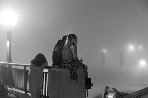 Couple waiting for fog to clear
