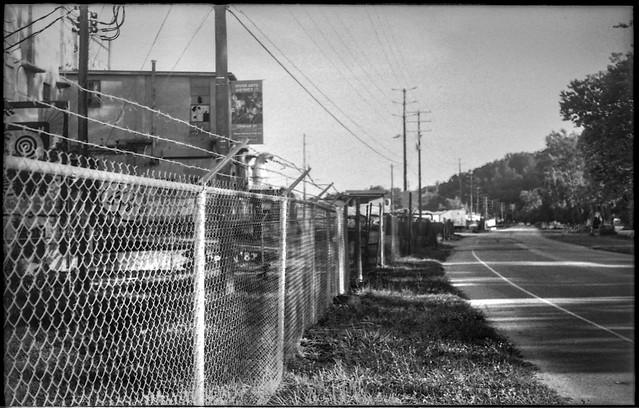 industrial landscape, Lyman Street, River District, Asheville, NC, Bencini Koroll 24S, Bergger Pancro 400, HC-110 developer, 7.1.19