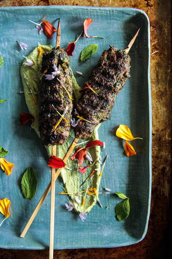 Grilled Spiced Lamb with Mint Tahini Sauce from HeatherChristo.com