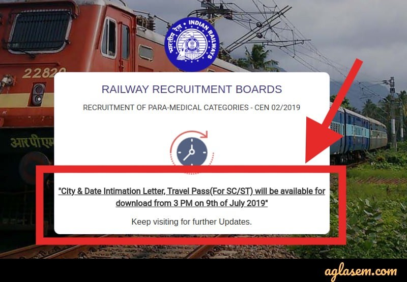 RRB Paramedical Exam Date and City 2019 Out at 3:00 PM;
