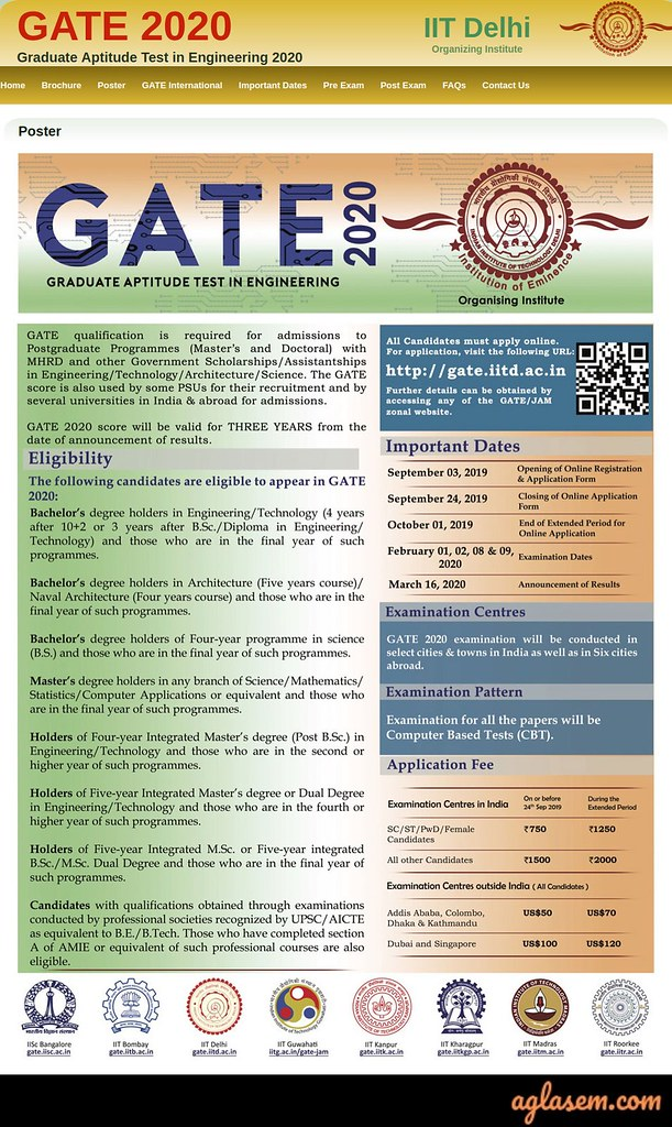 GATE 2020 Exam Date 1, 2, 8, 9 Feb; Registration Starts from 03 Sep