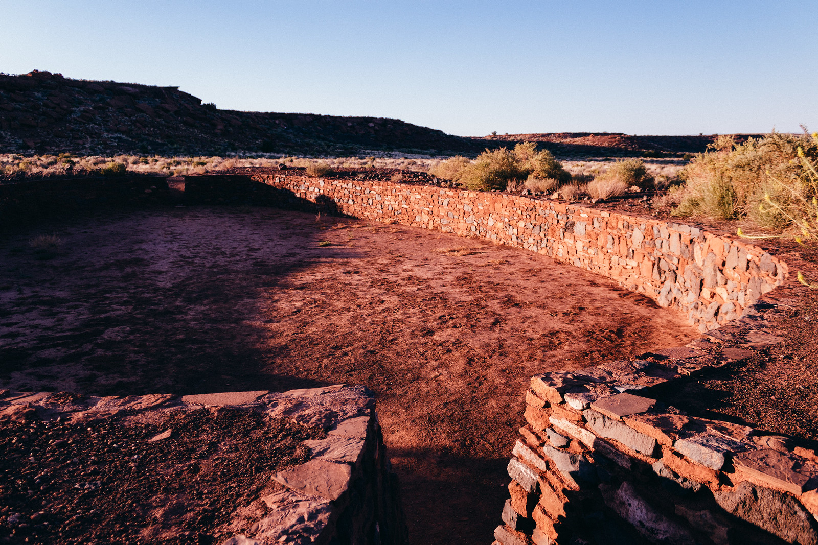 Reconstructed ball court made from red stone