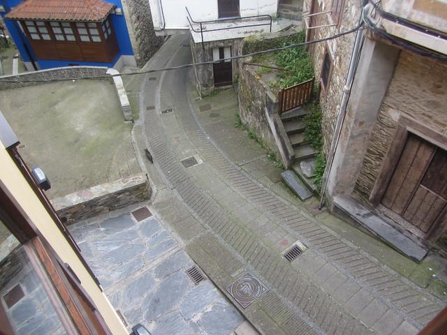 View from Apartementos  La  Lula our acommodation,  cat in street. Calle  San José, Cudillero,  Asturias, Spain