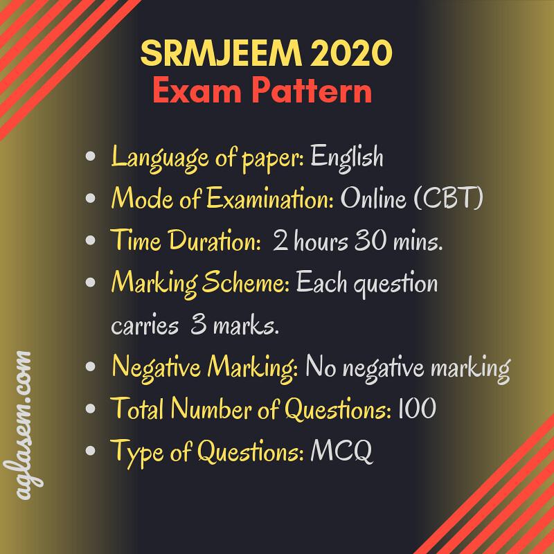 SRMJEEM 2020 Exam pattern