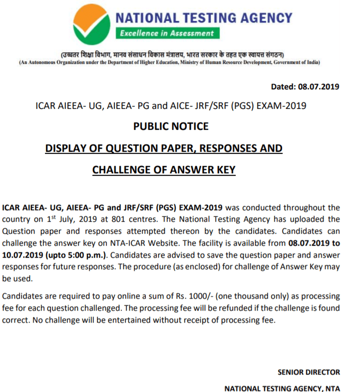 ICAR Answer Key 2019 Released - Download Answer Key, Solutions PDF