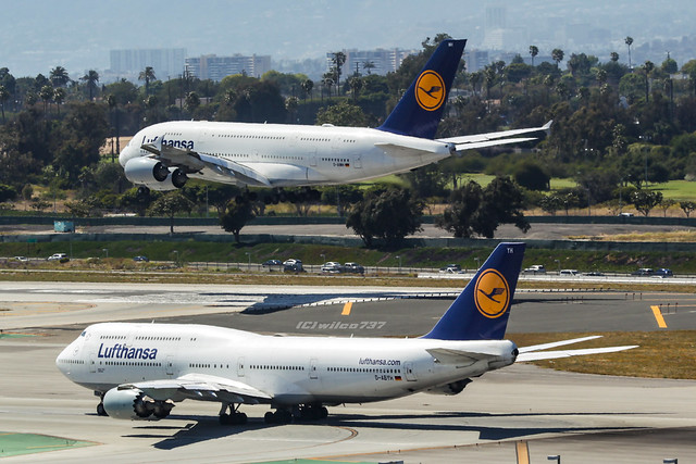 Boeing 747-8 & Airbus 380-800 at LAX (D-ABYH D-AIMH)