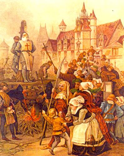 Jacques de Molay en la pira que le vería arder en París. El último Gran Maestre de los templarios.