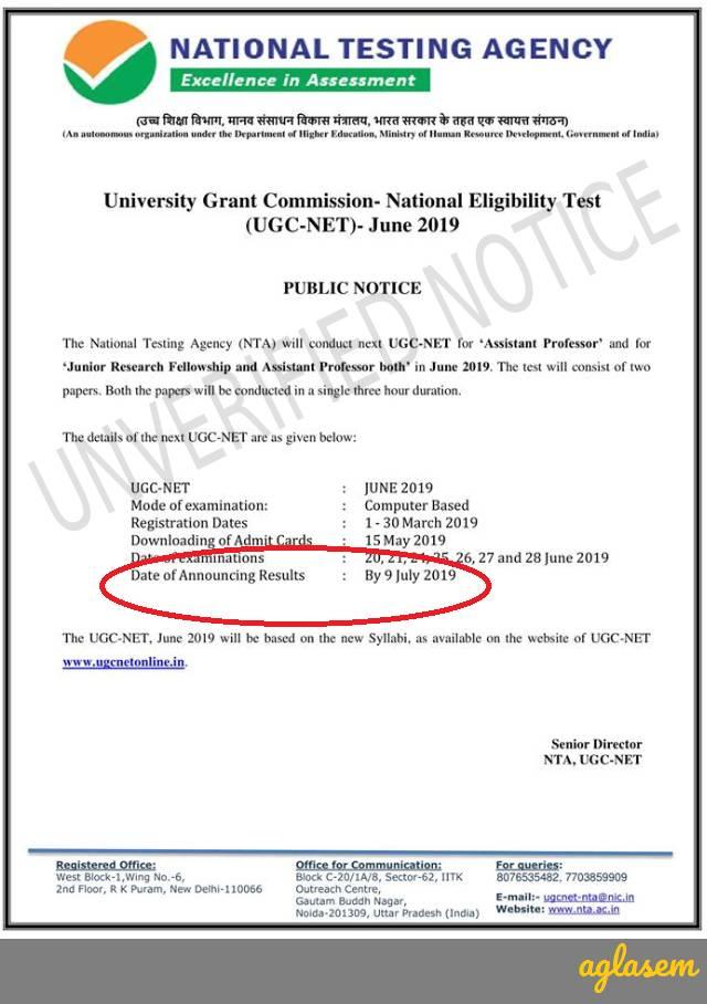 UGC NET Result Date 2019