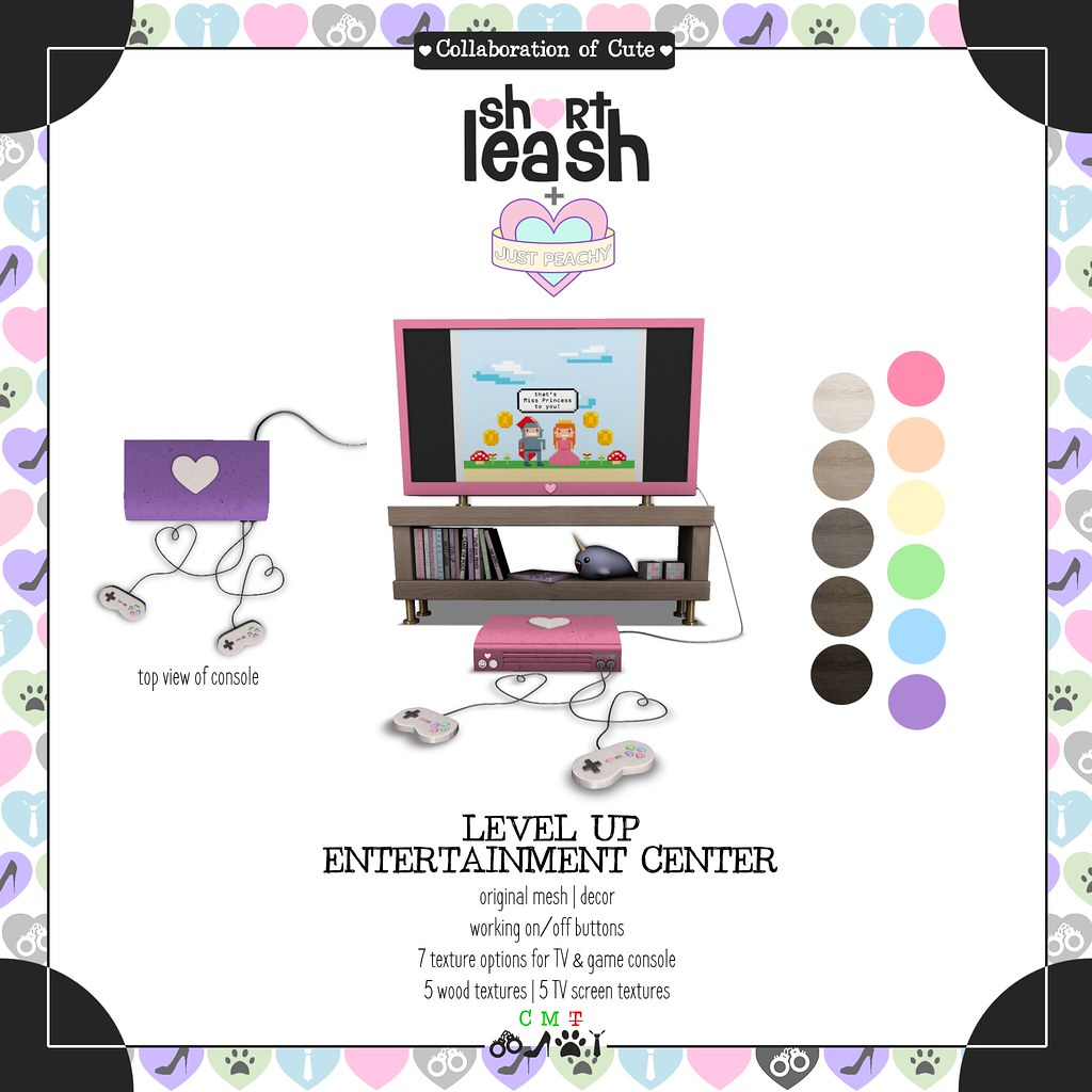 .:Short Leash:. + .:Just Peachy:. Level Up Entertainment Center
