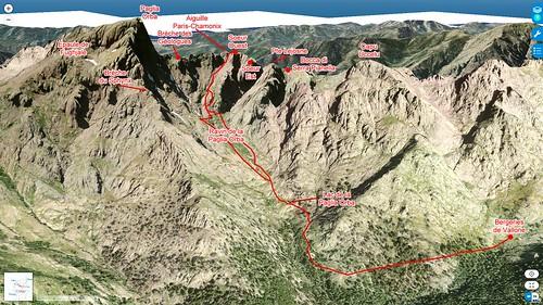 Photo 3D Géoportail avec l'itinéraire des Duo Sore W et le secteur Paglia Orba - Grande Barrière