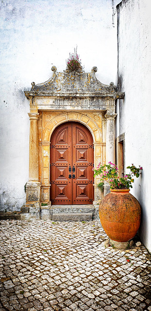 Church door in Obidos, Portugal