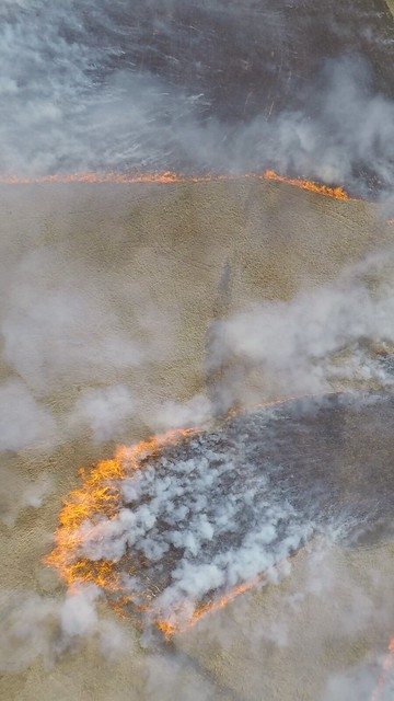 Camera view of a wildfire taken from a drone