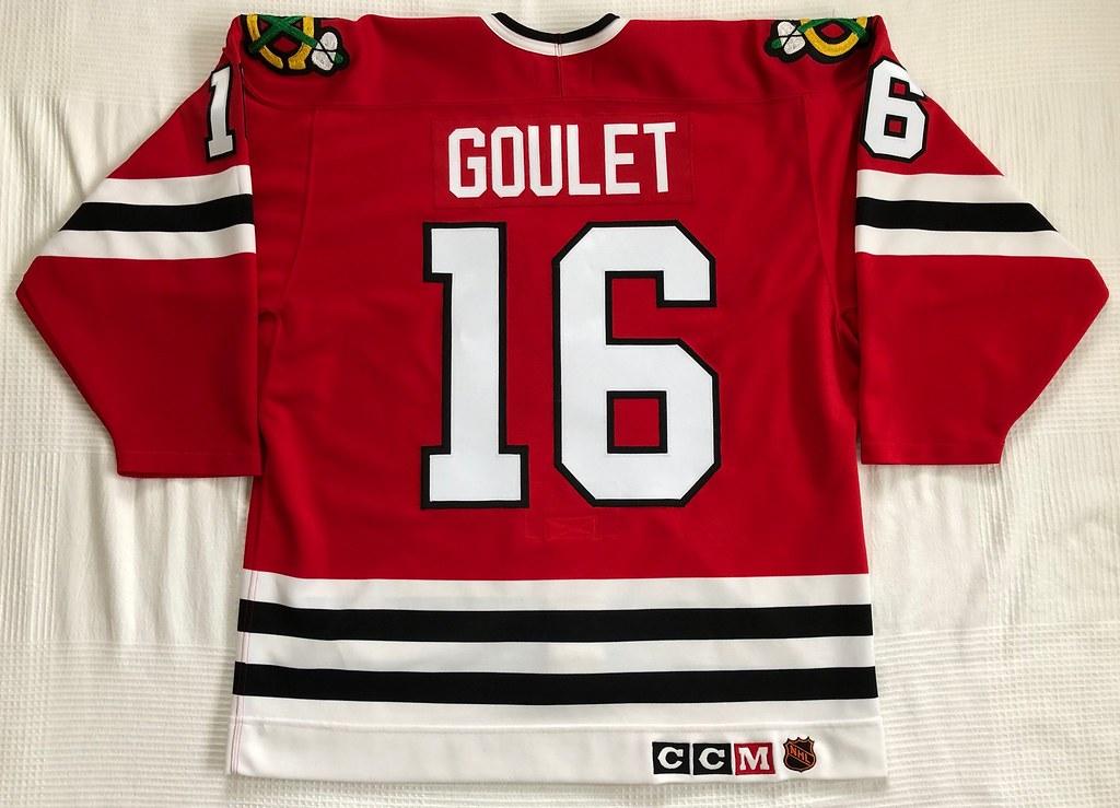 1992-93 Michel Goulet Chicago Blackhawks Away Jersey Back