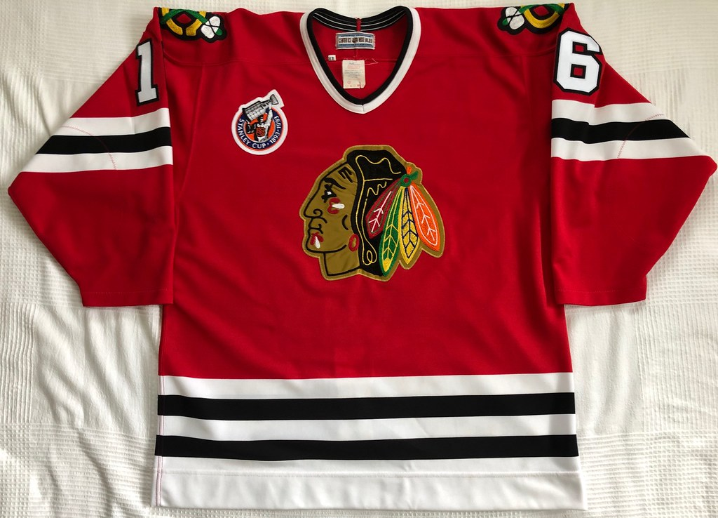 1992-93 Michel Goulet Chicago Blackhawks Away Jersey Front