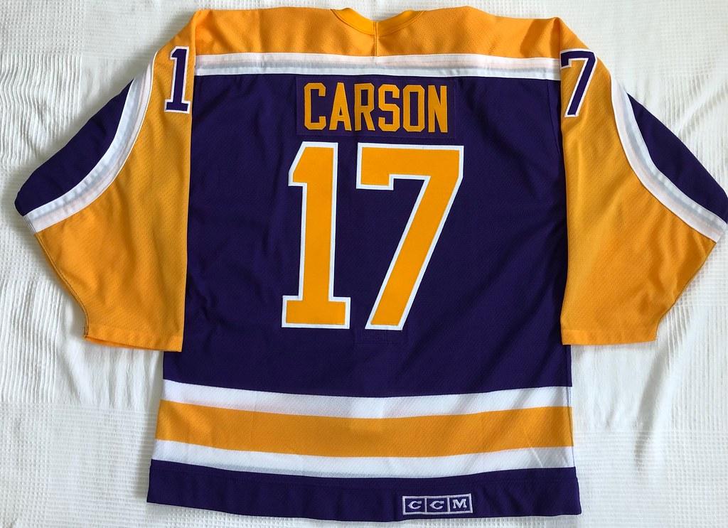1987-88 Jimmy Carson Los Angeles Kings Away Jersey Back