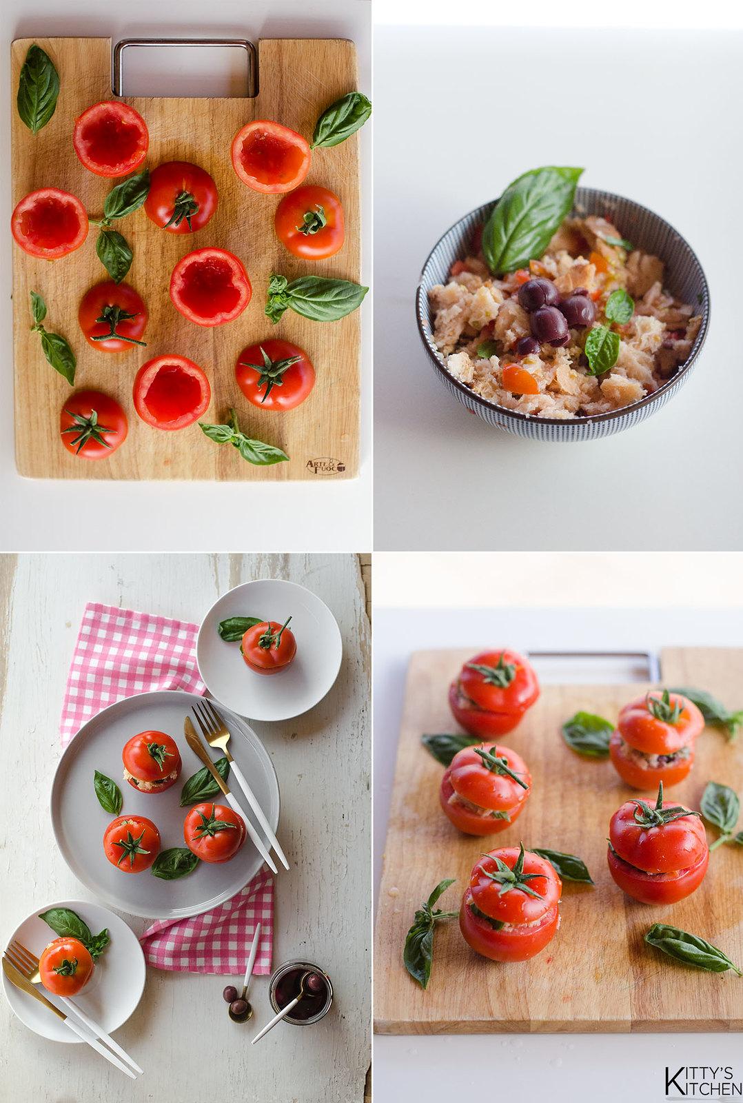 Pomodori ripieni di panzanella, capperi e olive