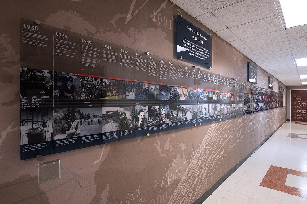 A view of a timeline that stretches down the wall of a hallway.