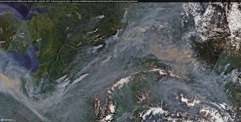 Lots of smoke from wildfires over Alaska, USA - July 8th, 2019