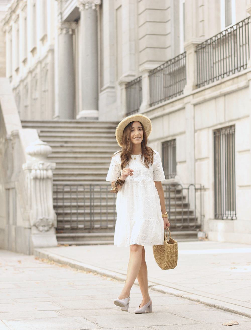 White summer dress canotier street style outfit 20195