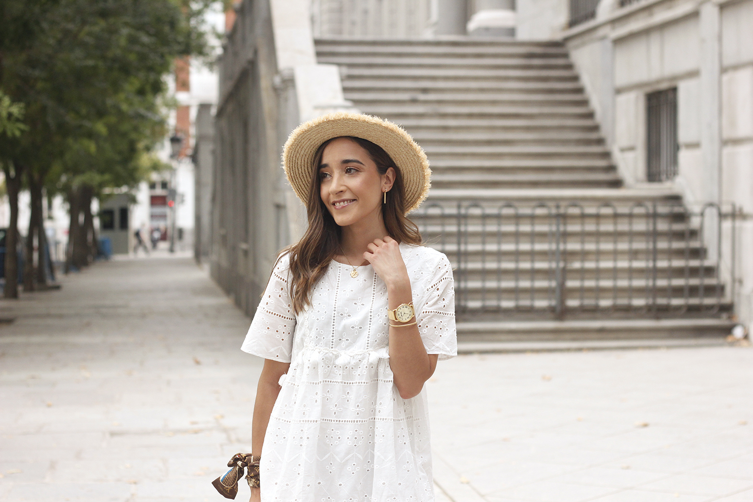 White summer dress canotier street style outfit 201914