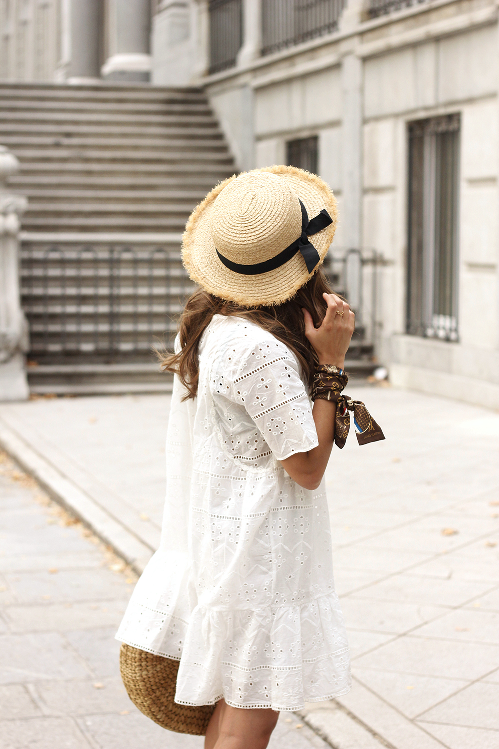 White summer dress canotier street style outfit 201910