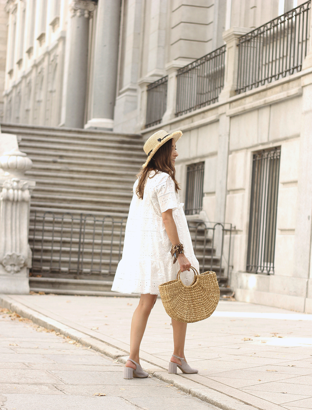 White summer dress canotier street style outfit 20198