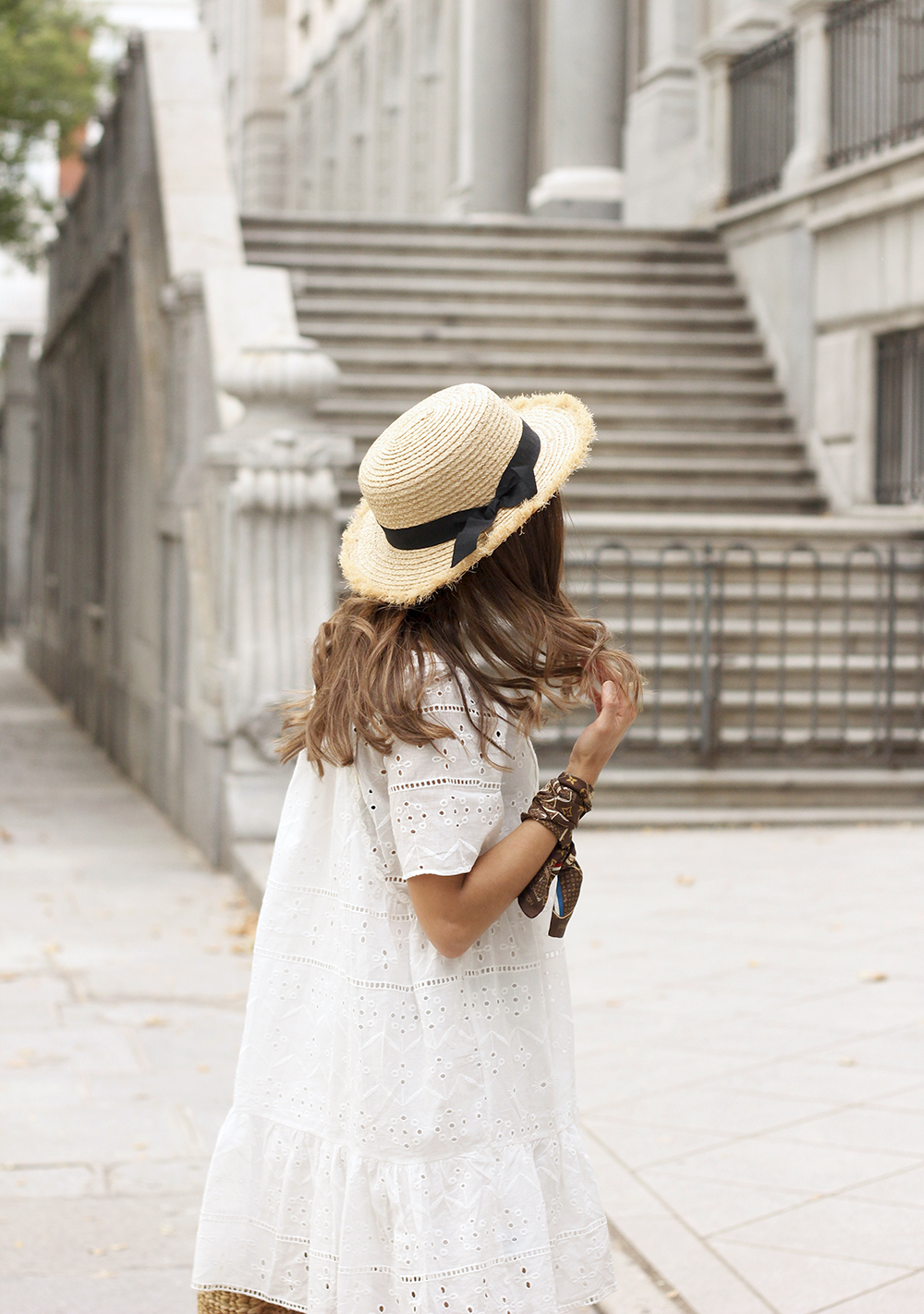 White summer dress canotier street style outfit 201912