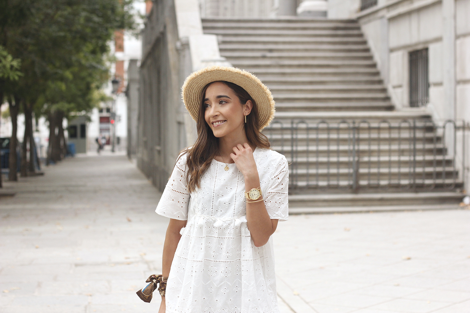 White summer dress canotier street style outfit 201915