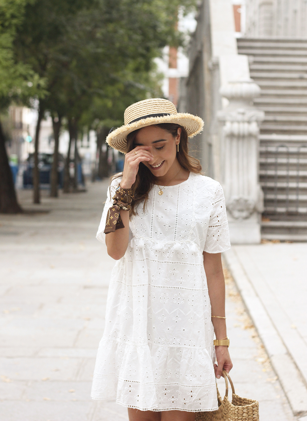 White summer dress canotier street style outfit 201913