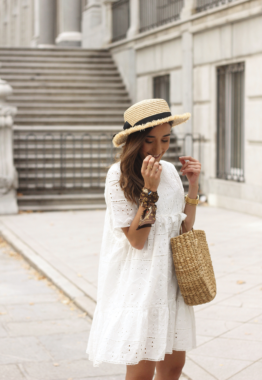 White summer dress canotier street style outfit 201911
