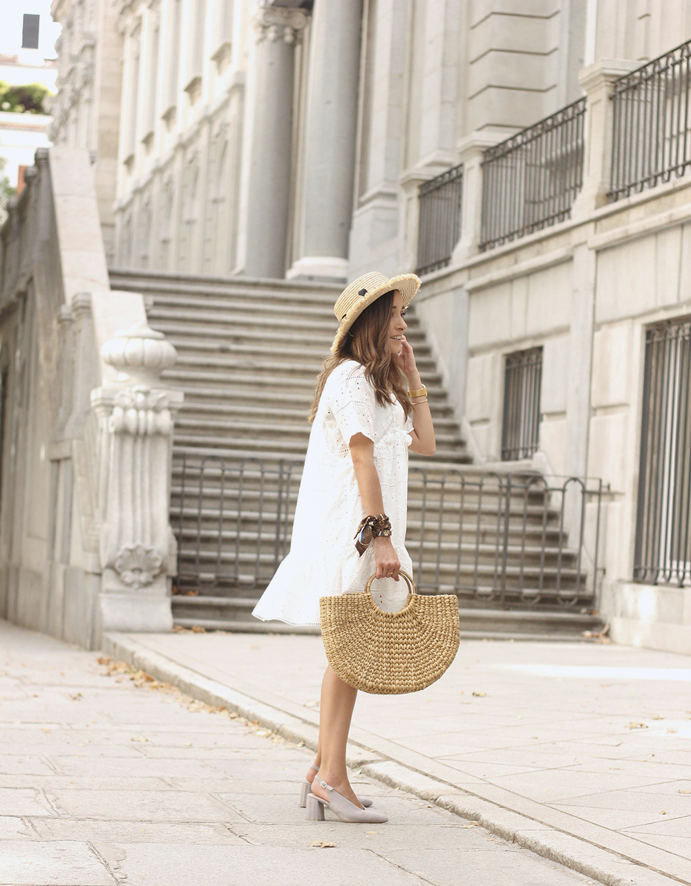 White summer dress canotier street style outfit 20197