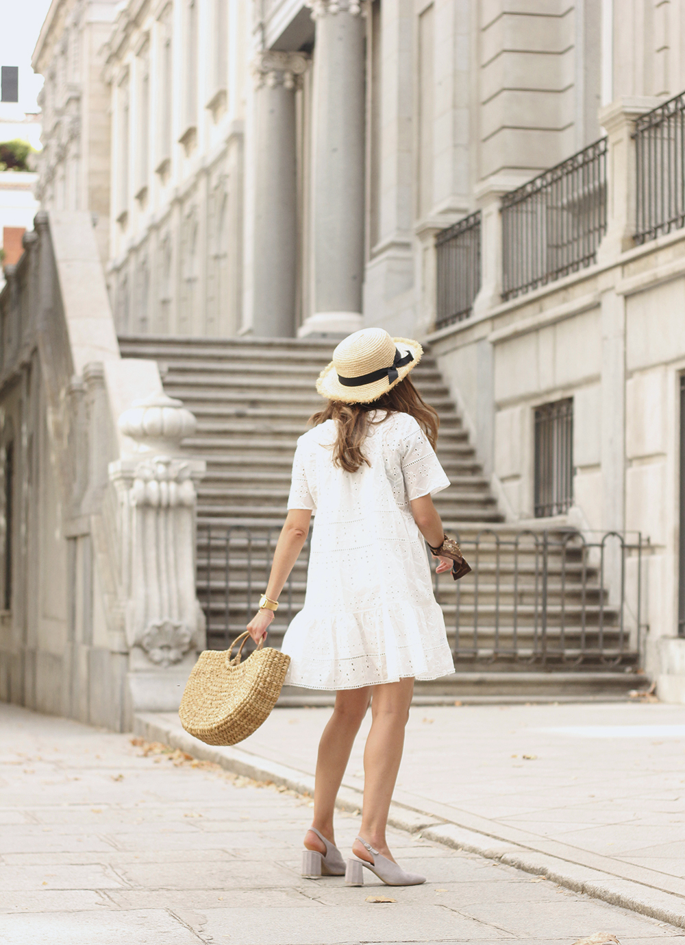 White summer dress canotier street style outfit 20196