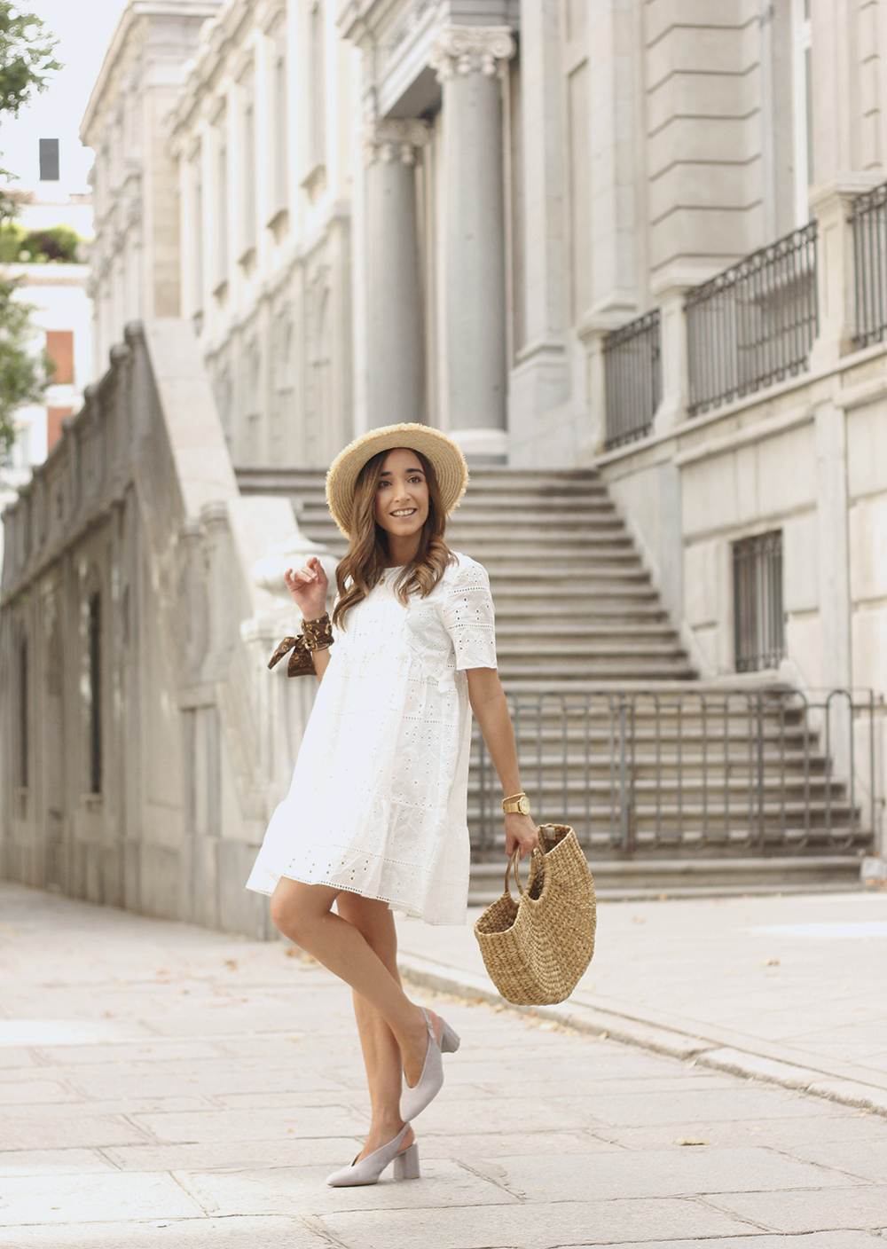White summer dress canotier street style outfit 20194