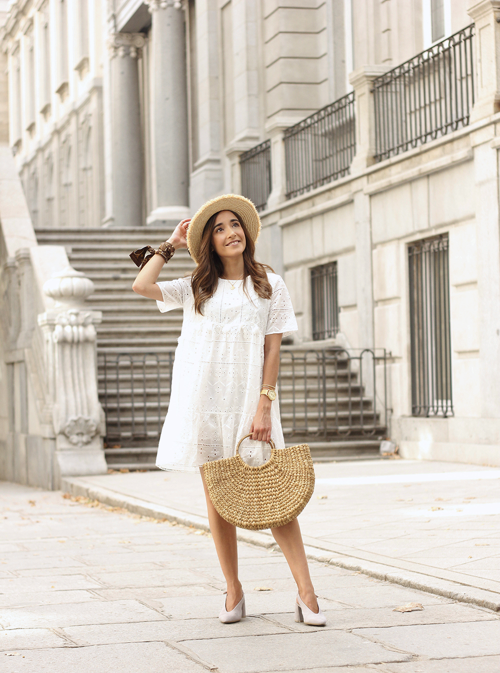 White summer dress canotier street style outfit 20191