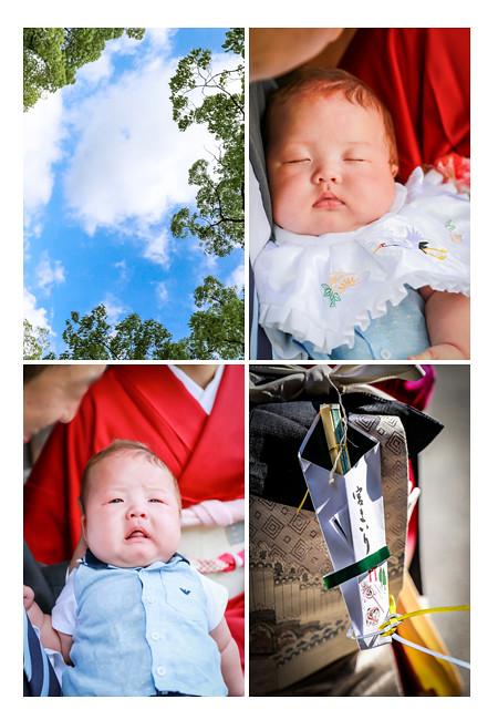 初宮参り 赤ちゃんの寝顔と泣き顔