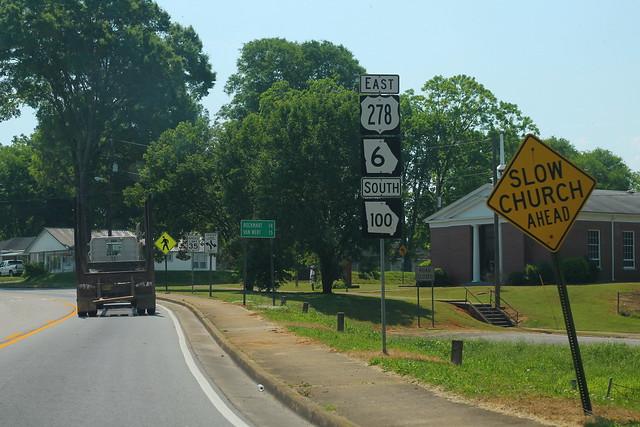 US278 GA6 East GA100 South Signs - Cedartown
