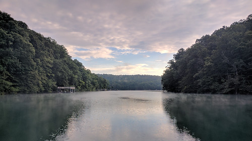 norris lake water mountains sunrise boating boat