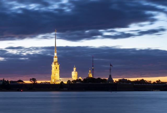 Blue hour Peter and Paul Fortress in Saint Petersburg - long exposure