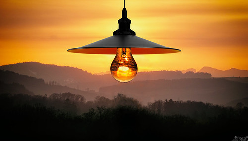 brightest bulb sunset sunrise lamp lampshade glowing clouds gradient orange filament ilce6000 a6000 sel55210 bern switzerland lewelsch lewelschphoto swissphotographers