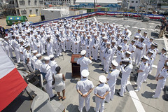 Adm. John Aquilino, commander of U.S. Pacific Fleet, speaks to the crew of USS John S. McCain (DDG 56) during an awards ceremony, July 10. (U.S. Navy/MC2 William McCann)