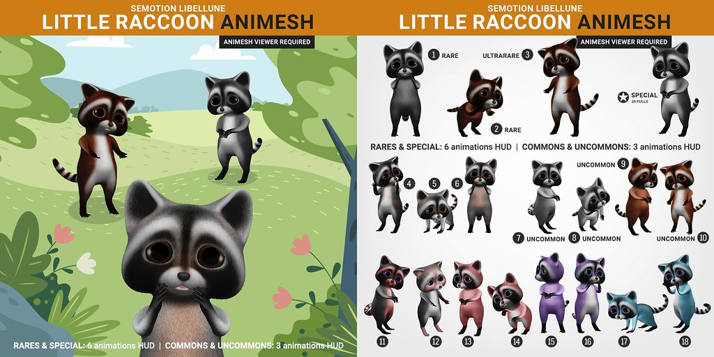 SEmotion Libellune Little Raccoon Animesh