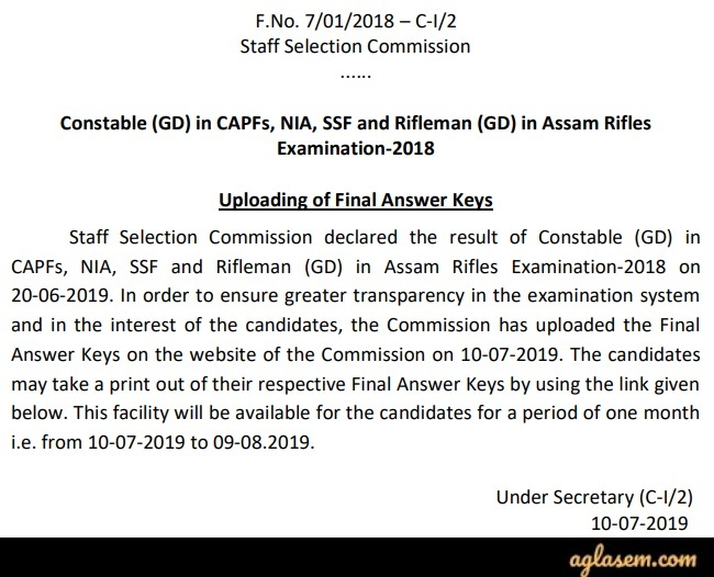 SSC GD Answer Key 2019 (Released) – Download Here with Question Paper