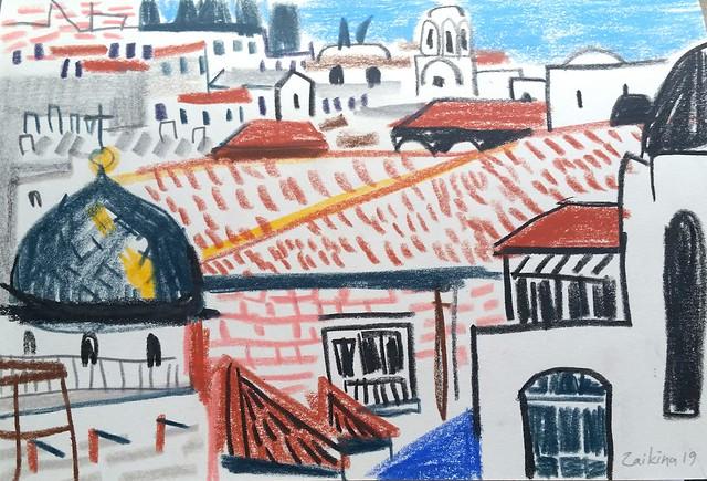 Maria Zaikina, Old city Jerusalem, pastels on paper, 21×14.5 cm, 2019