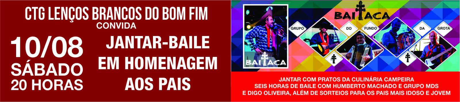 Prestigie em 10 de agosto, o Jantar-baile em homenagem aos pais no CTG Lenços Brancos do Bom Fim, com o cantor Baitaca