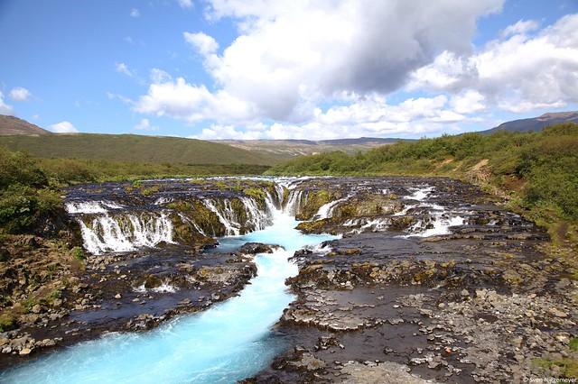 Der Brúarfoss Wasserfall im Süden von Island am 7.07.19
