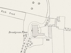 "Map excerpt with a mostly-rectangular shape in the centre labelled ""Broadgreen Place"", with a ""Fish Pond"" off to the northwest, smaller outbuildings to the east, and a tree-lined driveway running southwest from the house."