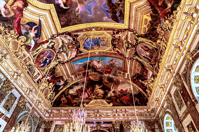 Massive mural in the ceiling of the Hall of mirrors of the Versailles Palace, France--53a